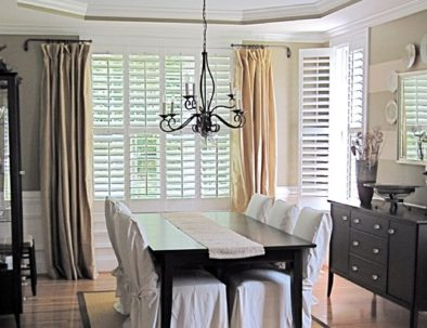 Drapes and Shutters in Dining Room Miami